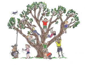 children playing in tree.